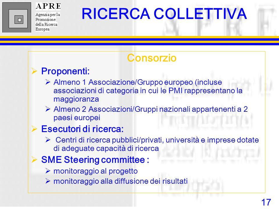 17 Consorzio Proponenti: Almeno 1 Associazione/Gruppo europeo (incluse associazioni di categoria in cui le PMI rappresentano la maggioranza Almeno 2 A