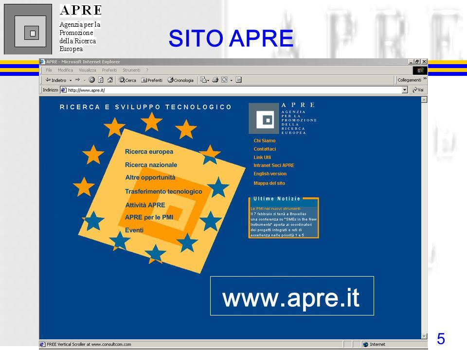 5 www.apre.it SITO APRE