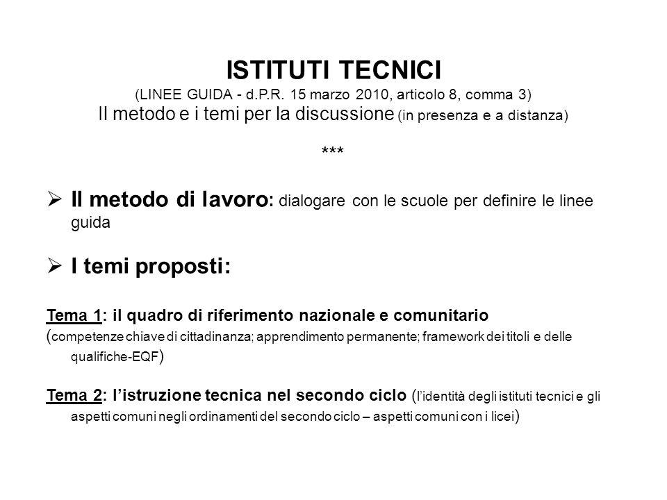ISTITUTI TECNICI (LINEE GUIDA - d.P.R.