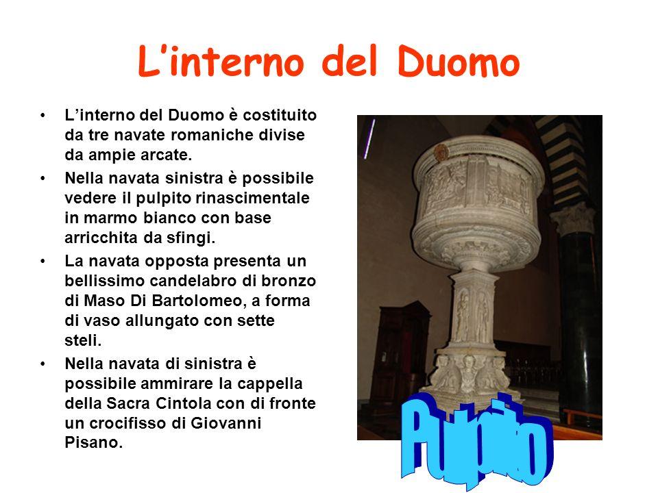 Il transetto Il transetto è formato da cinque altissime volte a crociera e da cappelle; esso è attribuito a Giovanni Pisano.