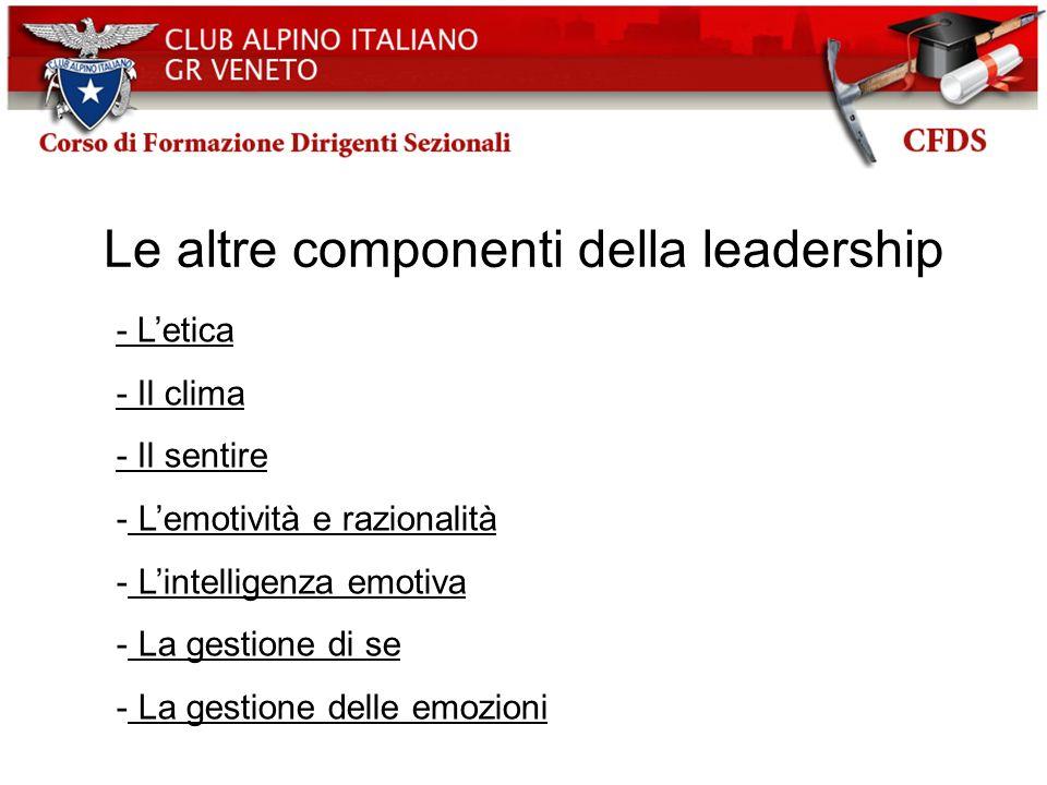 Le altre componenti della leadership - Letica - Il clima - Il sentire - Lemotività e razionalità - Lintelligenza emotiva - La gestione di se - La gest