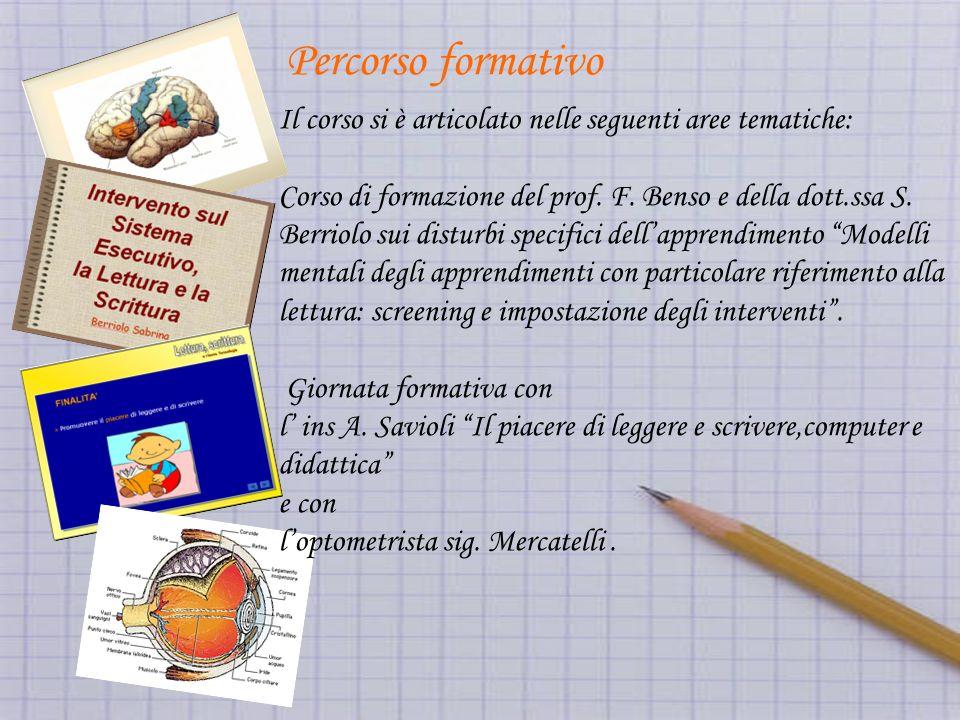 Percorso formativo Il corso si è articolato nelle seguenti aree tematiche: Corso di formazione del prof.