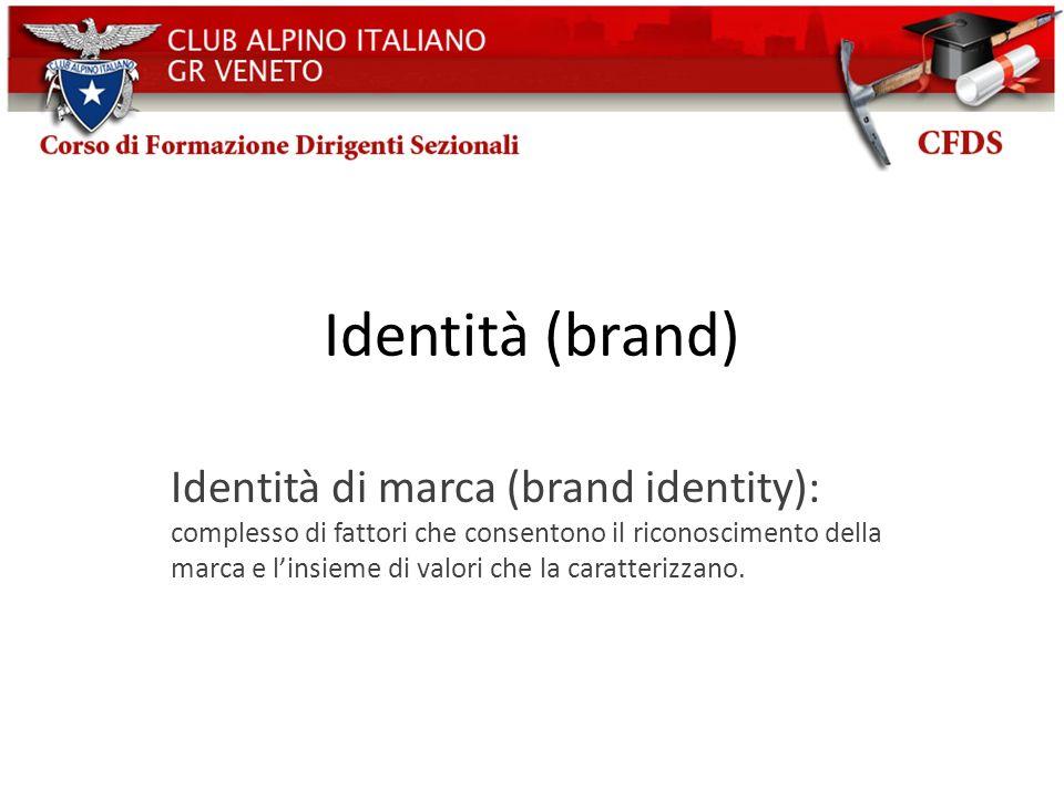 Identità (brand) Identità di marca (brand identity): complesso di fattori che consentono il riconoscimento della marca e linsieme di valori che la car