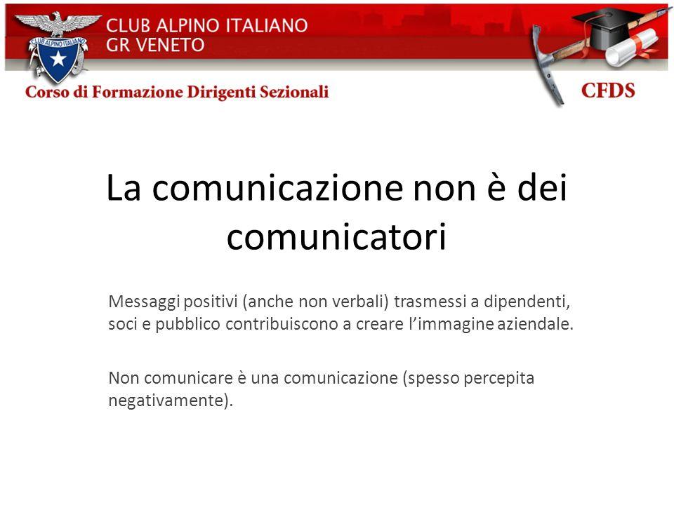 La comunicazione non è dei comunicatori Messaggi positivi (anche non verbali) trasmessi a dipendenti, soci e pubblico contribuiscono a creare limmagin