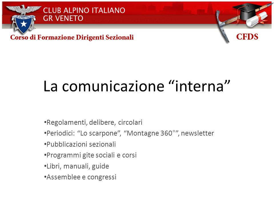 La comunicazione interna Regolamenti, delibere, circolari Periodici: Lo scarpone, Montagne 360°, newsletter Pubblicazioni sezionali Programmi gite soc