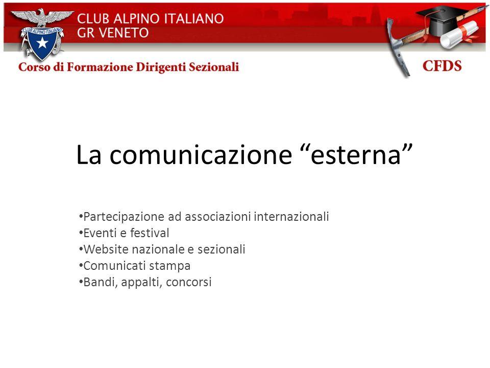 La comunicazione esterna Partecipazione ad associazioni internazionali Eventi e festival Website nazionale e sezionali Comunicati stampa Bandi, appalt