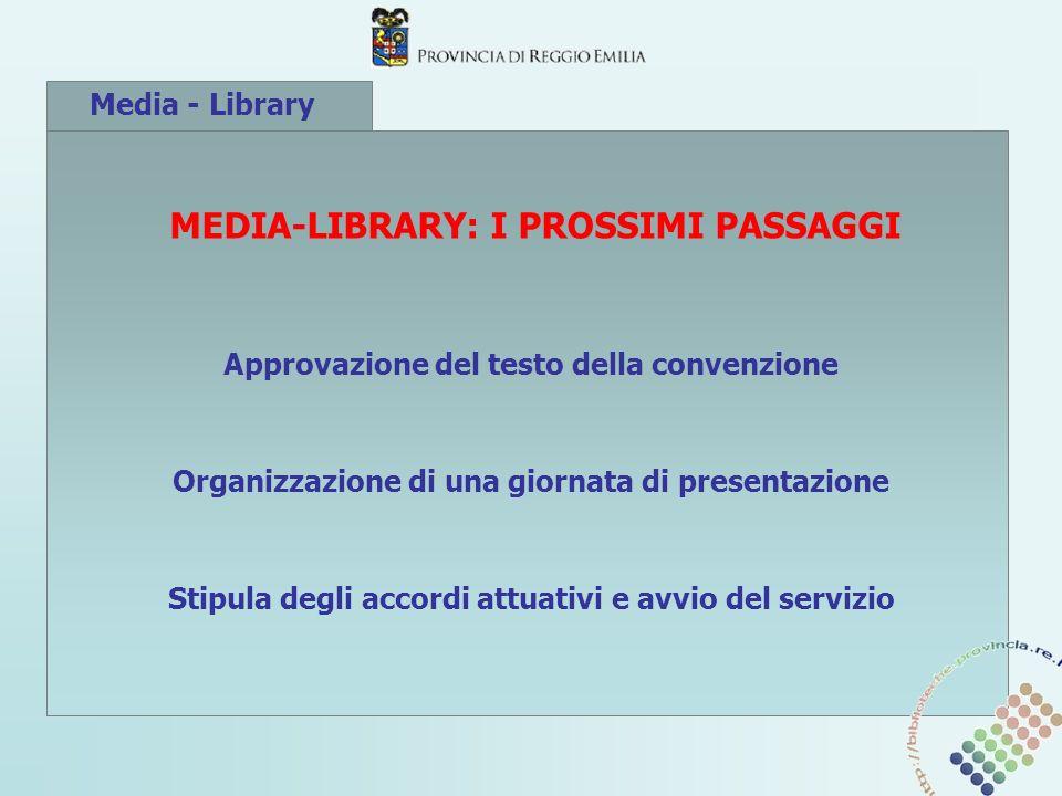 Media - Library MEDIA-LIBRARY: I PROSSIMI PASSAGGI Approvazione del testo della convenzione Organizzazione di una giornata di presentazione Stipula degli accordi attuativi e avvio del servizio