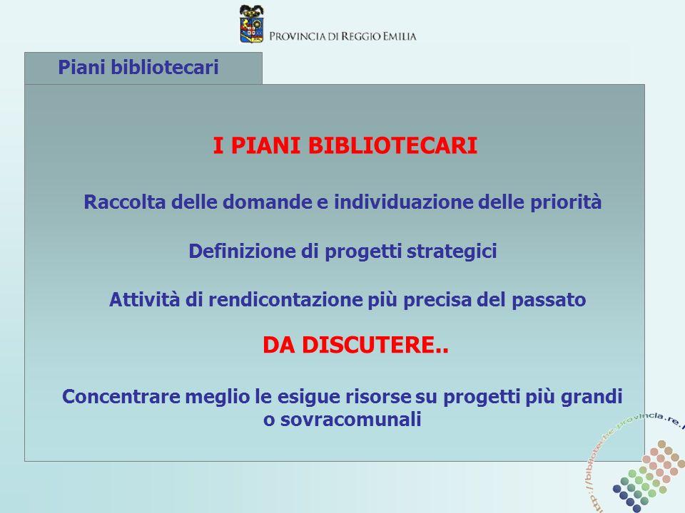Piani bibliotecari I PIANI BIBLIOTECARI Raccolta delle domande e individuazione delle priorità Definizione di progetti strategici Attività di rendicon