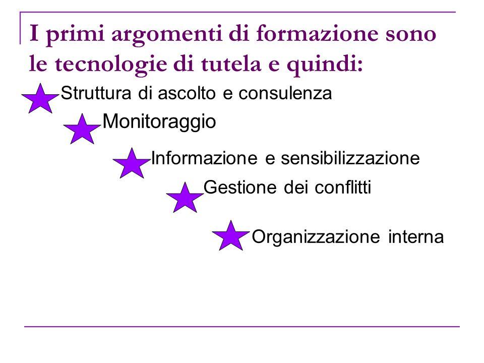 I primi argomenti di formazione sono le tecnologie di tutela e quindi: Struttura di ascolto e consulenza Monitoraggio Informazione e sensibilizzazione Gestione dei conflitti Organizzazione interna