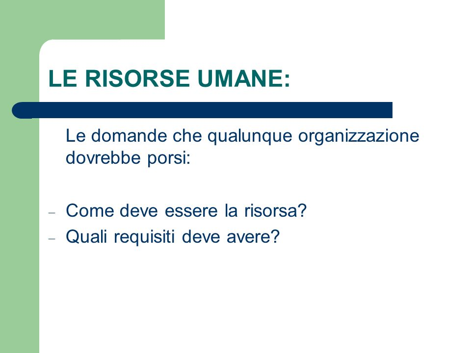 LE RISORSE UMANE: Le domande che qualunque organizzazione dovrebbe porsi: Come deve essere la risorsa? Quali requisiti deve avere?