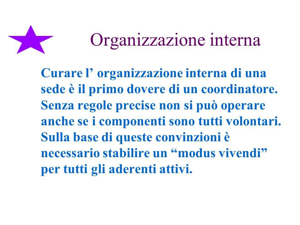 Organizzazione interna Curare l organizzazione interna di una sede è il primo dovere di un coordinatore. Senza regole precise non si può operare anche