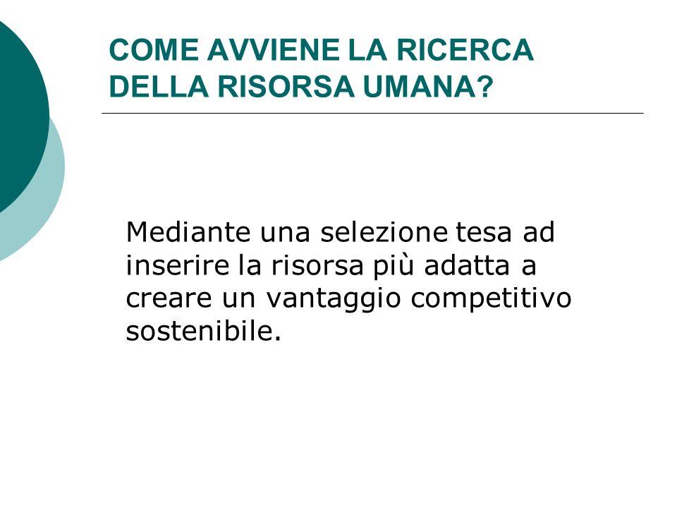 COME AVVIENE LA RICERCA DELLA RISORSA UMANA? Mediante una selezione tesa ad inserire la risorsa più adatta a creare un vantaggio competitivo sostenibi