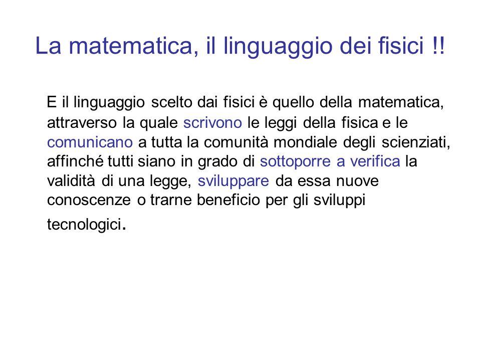 La matematica, il linguaggio dei fisici !! E il linguaggio scelto dai fisici è quello della matematica, attraverso la quale scrivono le leggi della fi