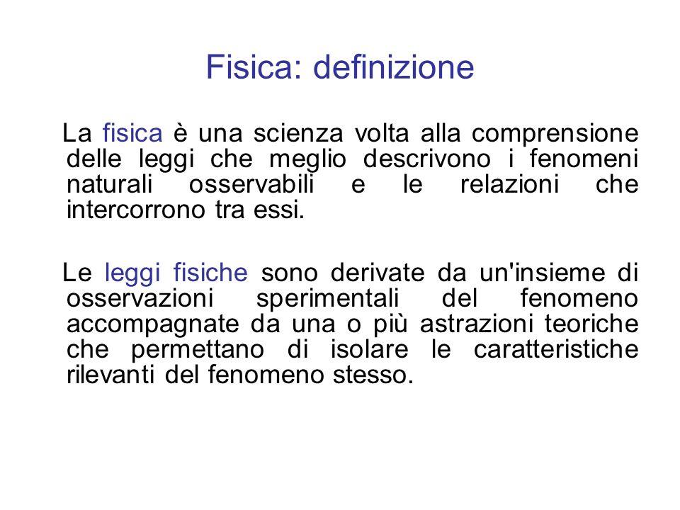 Fisica: definizione La fisica è una scienza volta alla comprensione delle leggi che meglio descrivono i fenomeni naturali osservabili e le relazioni c