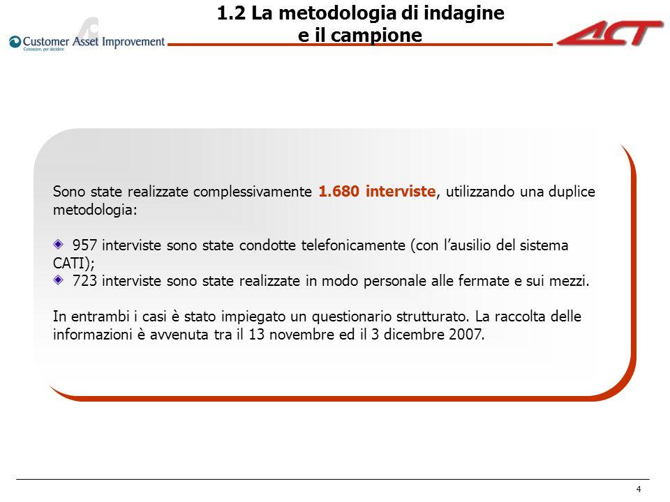 4 Sono state realizzate complessivamente 1.680 interviste, utilizzando una duplice metodologia: 957 interviste sono state condotte telefonicamente (co
