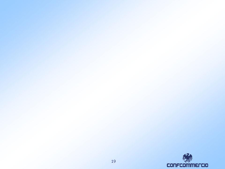 18 Frigoriferi e congelatori (comma 353) Ambito dintervento: sostituzione di frigoriferi e congelatori con analoghi apparecchi di classe energetica non inferiore ad A+ una quota pari al 20% Agevolazione prevista: detrazione dallimposta lorda per le spese effettuate entro lanno 2007 per una quota pari al 20% degli importi rimasti a carico del contribuente fino ad un valore massimo della detrazione di 200 per ciascun apparecchio.