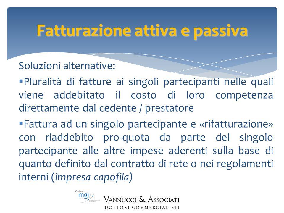 Fatturazione attiva e passiva Soluzioni alternative: Pluralità di fatture ai singoli partecipanti nelle quali viene addebitato il costo di loro compet