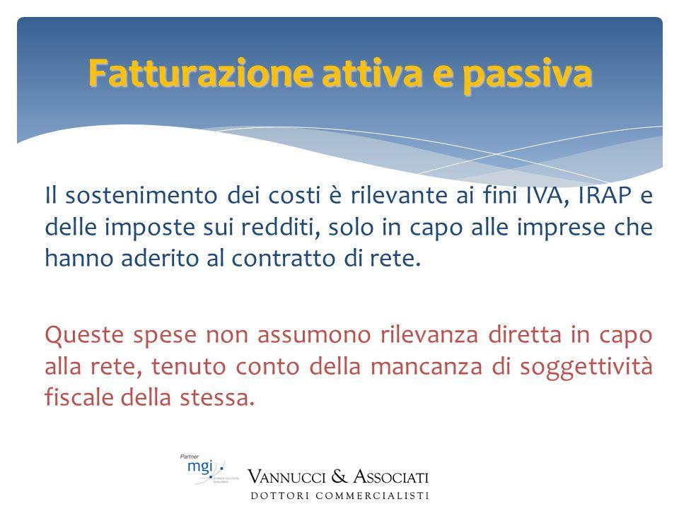 Fatturazione attiva e passiva Il sostenimento dei costi è rilevante ai fini IVA, IRAP e delle imposte sui redditi, solo in capo alle imprese che hanno