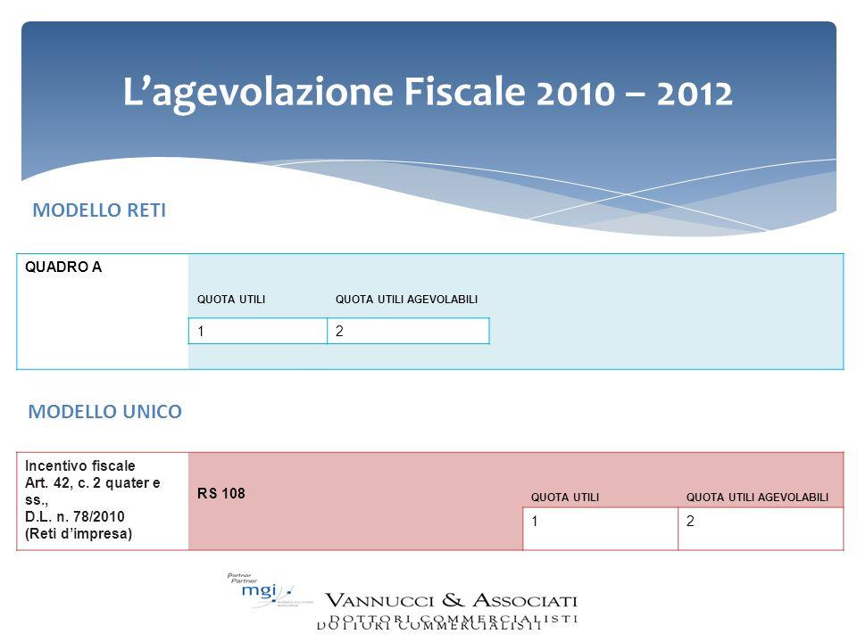 Lagevolazione Fiscale 2010 – 2012 Incentivo fiscale Art. 42, c. 2 quater e ss., D.L. n. 78/2010 (Reti dimpresa) RS 108 QUOTA UTILIQUOTA UTILI AGEVOLAB