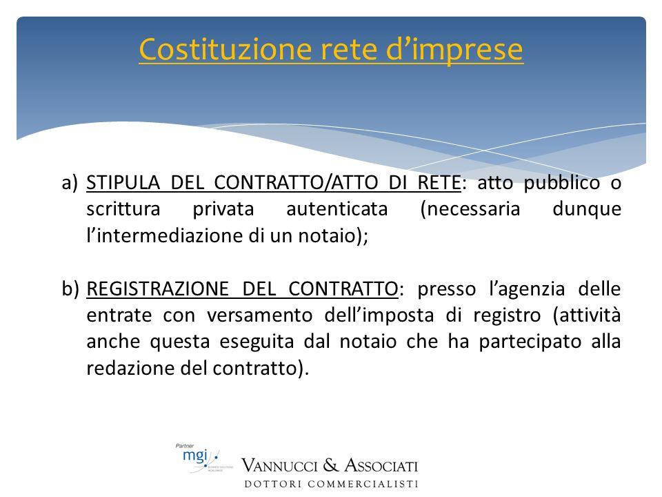 Costituzione rete dimprese a)STIPULA DEL CONTRATTO/ATTO DI RETE: atto pubblico o scrittura privata autenticata (necessaria dunque lintermediazione di