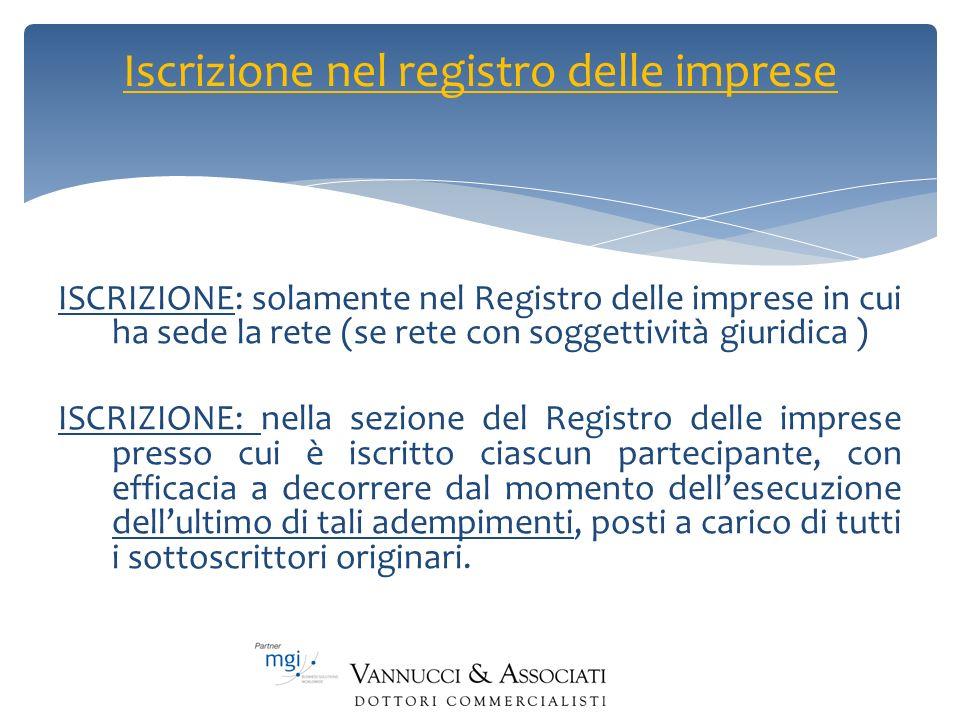 Iscrizione nel registro delle imprese ISCRIZIONE: solamente nel Registro delle imprese in cui ha sede la rete (se rete con soggettività giuridica ) IS
