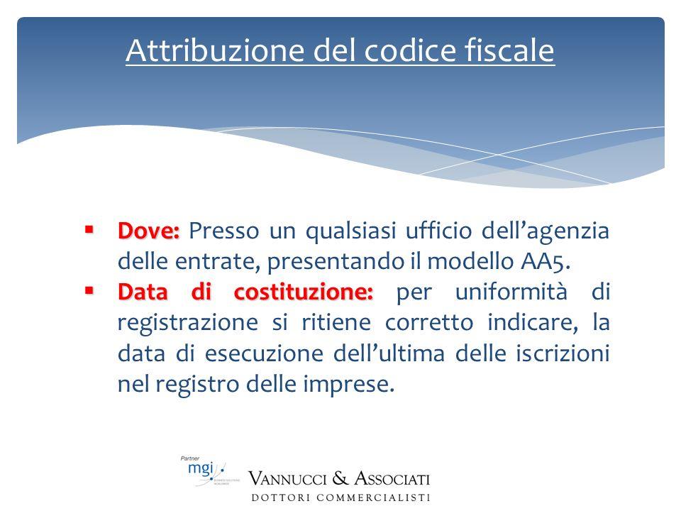 Attribuzione del codice fiscale Dove: Dove: Presso un qualsiasi ufficio dellagenzia delle entrate, presentando il modello AA5. Data di costituzione: D