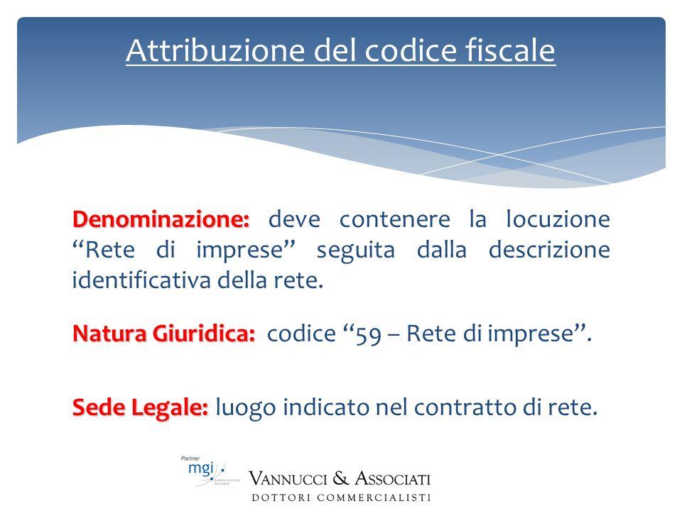 Attribuzione del codice fiscale Denominazione: Denominazione: deve contenere la locuzione Rete di imprese seguita dalla descrizione identificativa del