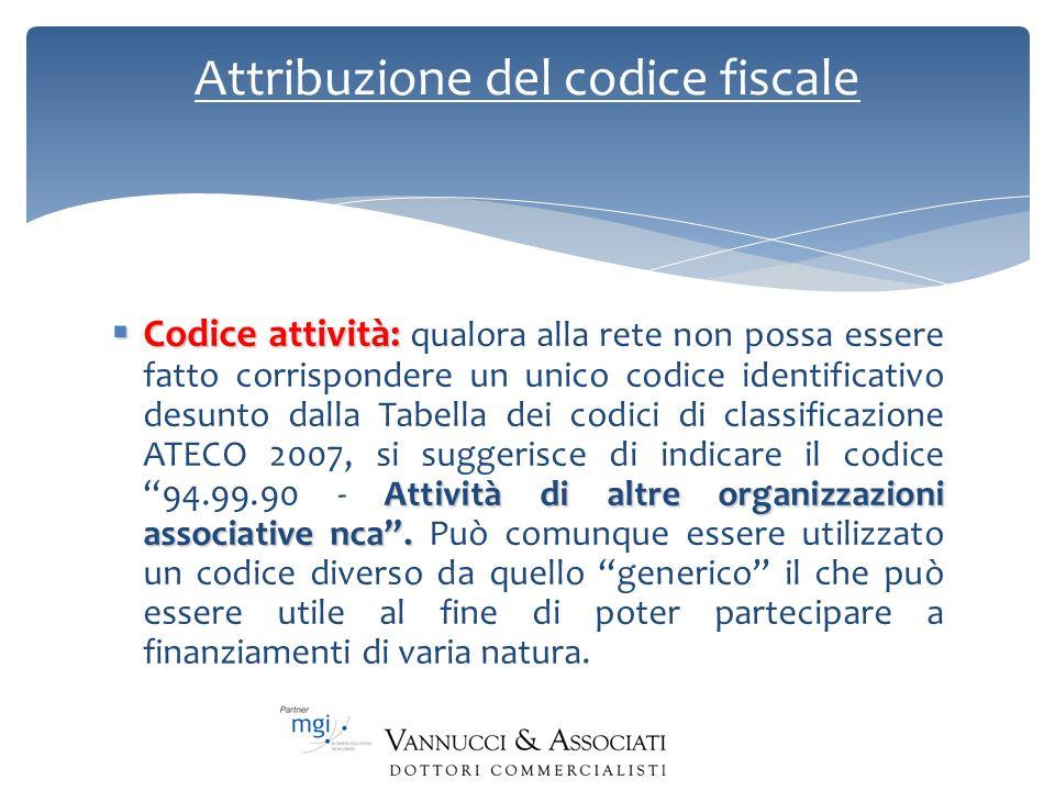 Attribuzione del codice fiscale Codice attività: Attività di altre organizzazioni associative nca. Codice attività: qualora alla rete non possa essere