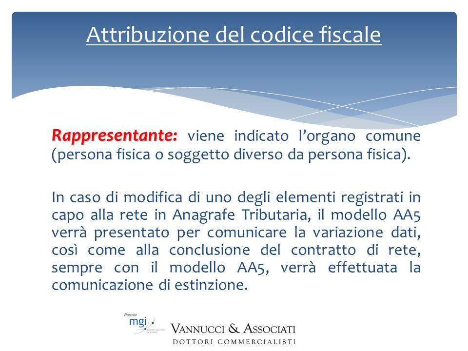 Attribuzione del codice fiscale Rappresentante: Rappresentante: viene indicato lorgano comune (persona fisica o soggetto diverso da persona fisica). I