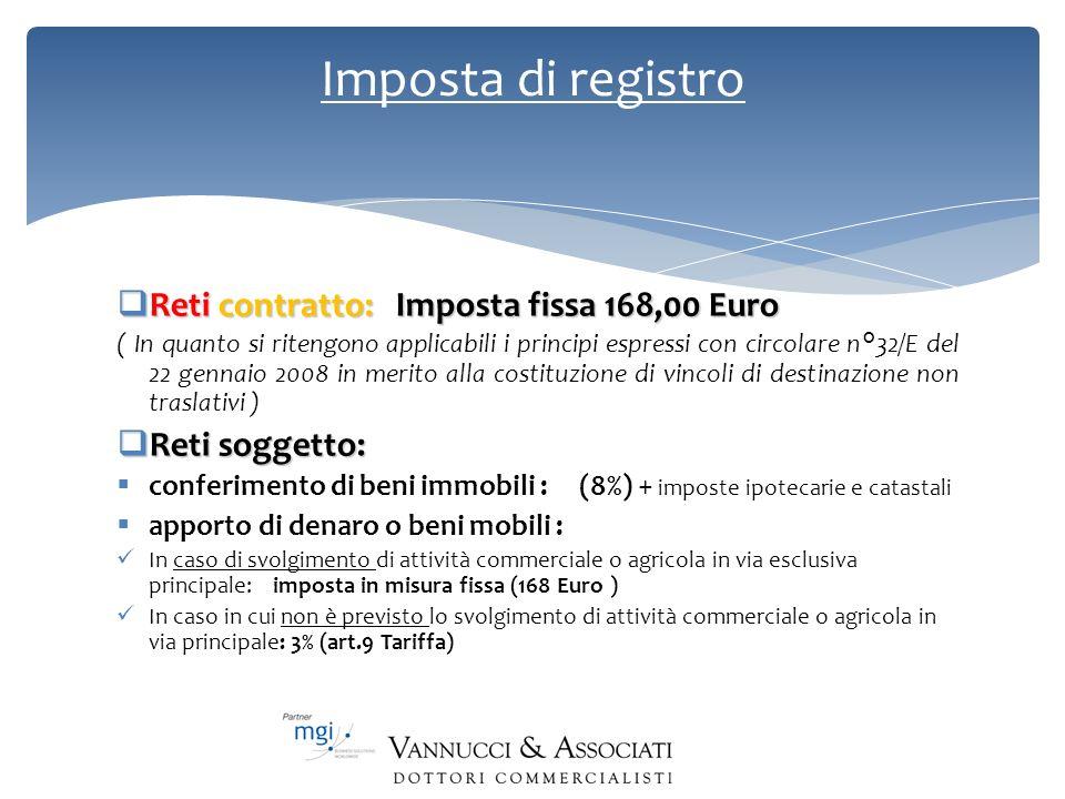 Imposta di registro Reti contratto: Imposta fissa 168,00 Euro Reti contratto: Imposta fissa 168,00 Euro ( In quanto si ritengono applicabili i princip