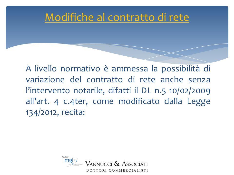 A livello normativo è ammessa la possibilità di variazione del contratto di rete anche senza lintervento notarile, difatti il DL n.5 10/02/2009 allart