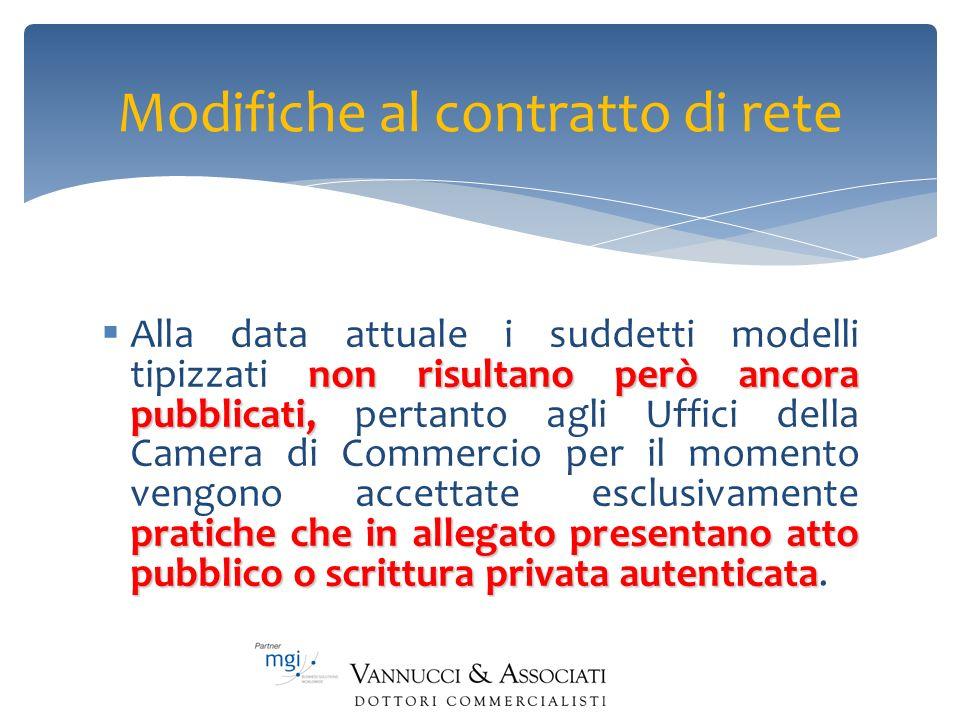 Modifiche al contratto di rete non risultano però ancora pubblicati, pratiche che in allegato presentano atto pubblico o scrittura privata autenticata