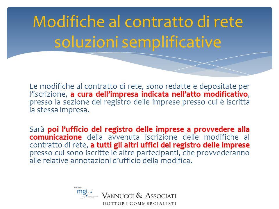 Modifiche al contratto di rete soluzioni semplificative a cura dellimpresa indicata nellatto modificativo Le modifiche al contratto di rete, sono reda