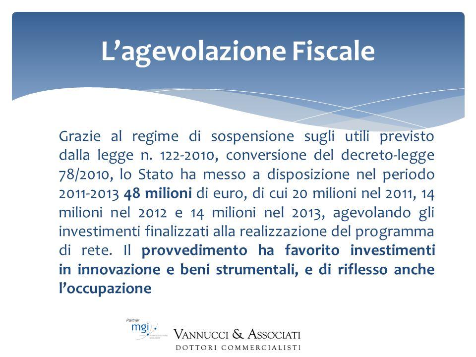 Lagevolazione Fiscale Grazie al regime di sospensione sugli utili previsto dalla legge n. 122-2010, conversione del decreto-legge 78/2010, lo Stato ha