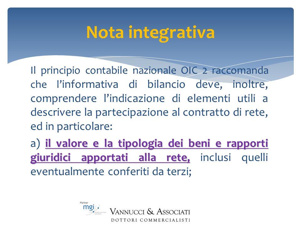 Nota integrativa Il principio contabile nazionale OIC 2 raccomanda che l informativa di bilancio deve, inoltre, comprendere lindicazione di elementi u