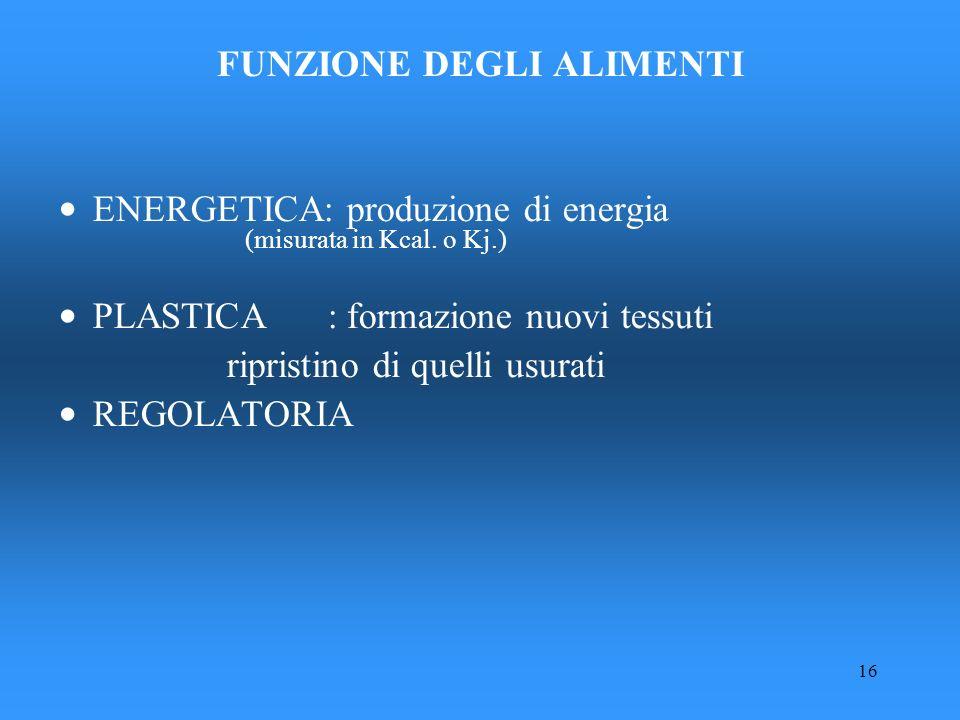 16 FUNZIONE DEGLI ALIMENTI ENERGETICA: produzione di energia (misurata in Kcal. o Kj.) PLASTICA : formazione nuovi tessuti ripristino di quelli usurat
