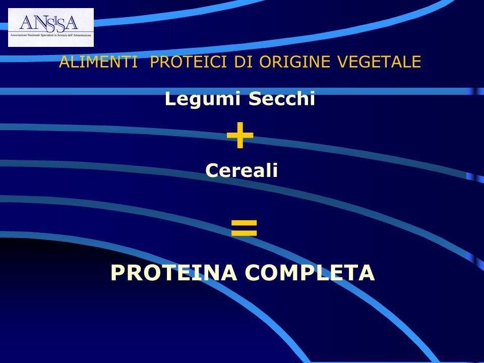 ALIMENTI PROTEICI DI ORIGINE VEGETALE Cereali Legumi Secchi PROTEINA COMPLETA = +