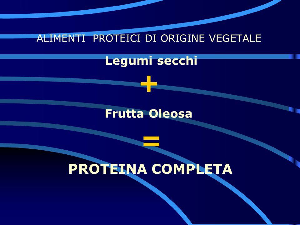 ALIMENTI PROTEICI DI ORIGINE VEGETALE Legumi secchi Frutta Oleosa PROTEINA COMPLETA = +