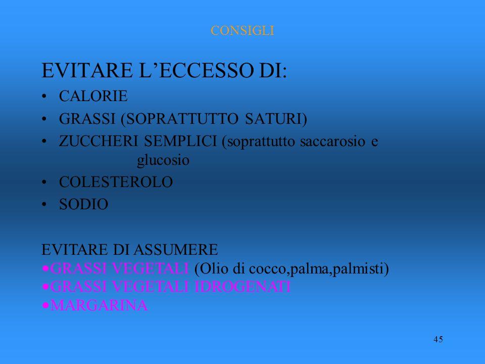 45 CONSIGLI EVITARE LECCESSO DI: CALORIE GRASSI (SOPRATTUTTO SATURI) ZUCCHERI SEMPLICI (soprattutto saccarosio e glucosio COLESTEROLO SODIO EVITARE DI