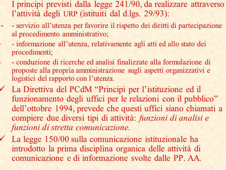 Evoluzione dellURP e dell'Ufficio di Comunicazione interna ed esterna provinciale Con lemanazione della legge 241/90, pubblicità e trasparenza diventa