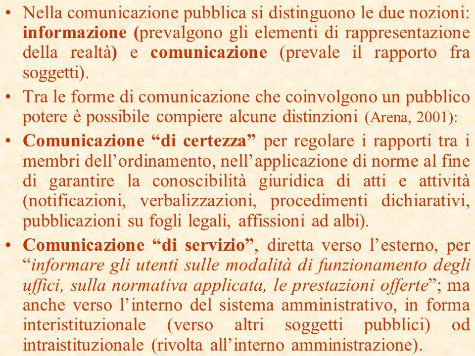 La nuova funzione della comunicazione nella legge 150/2000 sulla comunicazione istituzionale nelle pubbliche amministrazioni La comunicazione è stata