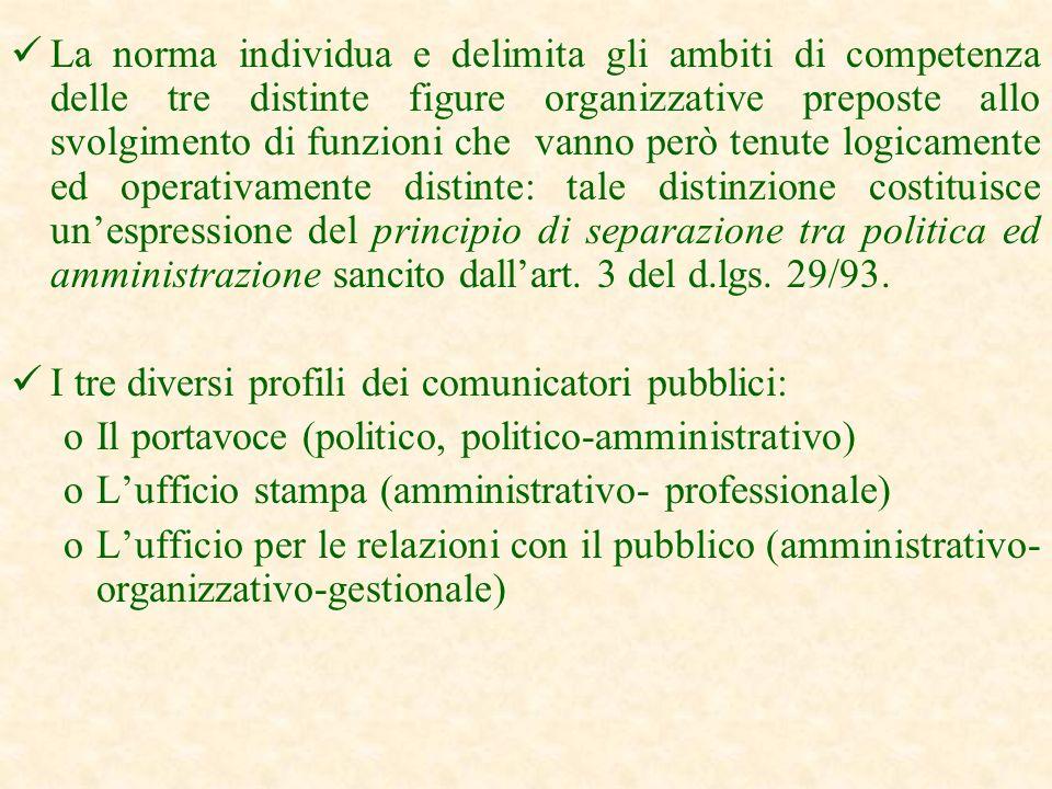 Definizione dellattività istituzionale (art. 6 ) Le attività di informazione si realizzano attraverso il portavoce e lufficio stampa e quelle di comun