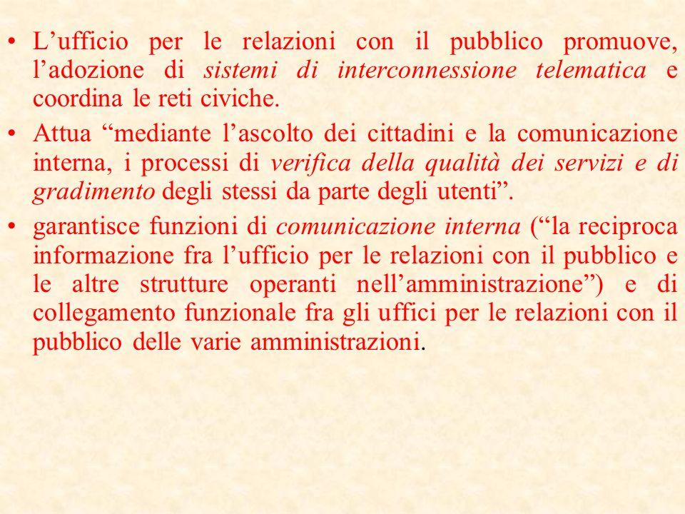 Lufficio per le relazioni con il pubblico lart. 8 della legge 150/00 prevede espressamente che svolga: lattività indirizzata ai cittadini singoli e as