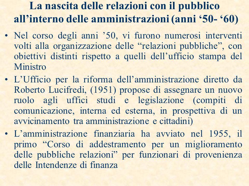 INDICE La nascita delle relazioni con il pubblico allinterno delle amministrazioni (anni 50- 60) Levoluzione del quadro normativo (anni 90) Il nuovo s