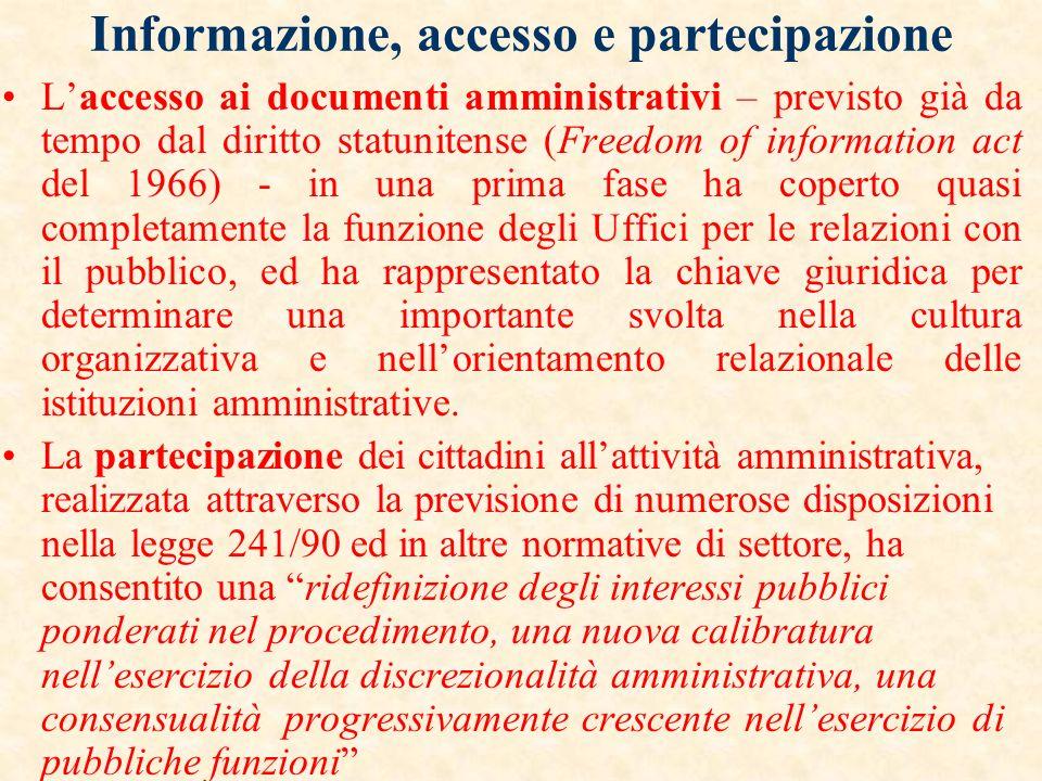 Il d.lgs. 29/93 rubrica il capo I del titolo II relazioni con il pubblico, trattando allart. 11 della trasparenza, allart. 12 dellufficio per le relaz