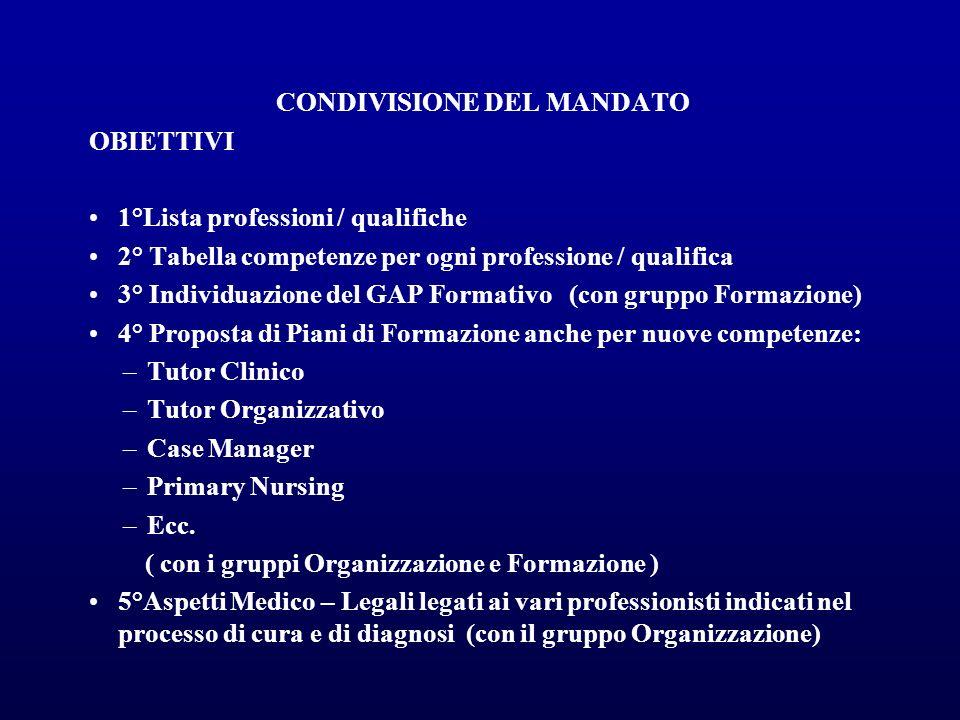 CONDIVISIONE DEL MANDATO OBIETTIVI 1°Lista professioni / qualifiche 2° Tabella competenze per ogni professione / qualifica 3° Individuazione del GAP F