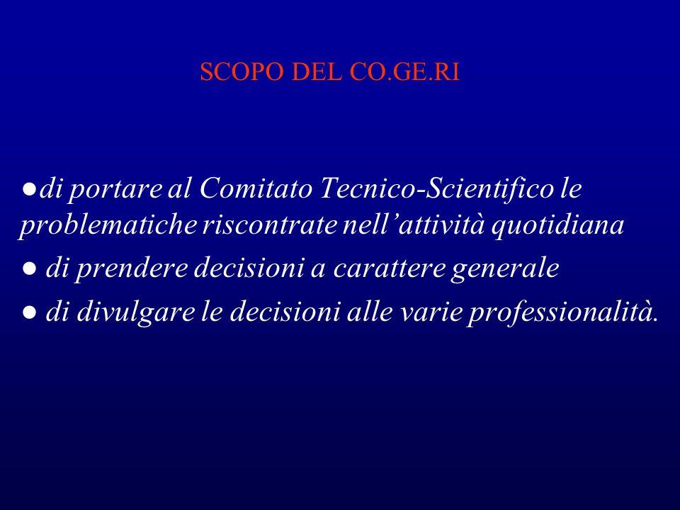 SCOPO DEL CO.GE.RI di portare al Comitato Tecnico-Scientifico le problematiche riscontrate nellattività quotidiana di prendere decisioni a carattere g