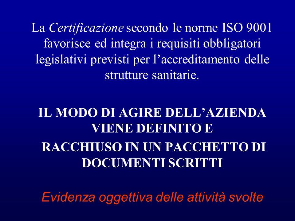 La Certificazione secondo le norme ISO 9001 favorisce ed integra i requisiti obbligatori legislativi previsti per laccreditamento delle strutture sani