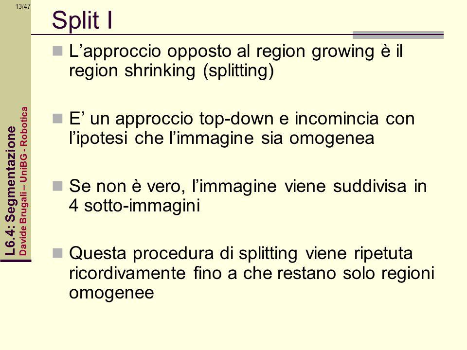 Davide Brugali – UniBG - Robotica L6.4: Segmentazione 13/47 Split I Lapproccio opposto al region growing è il region shrinking (splitting) E un approc