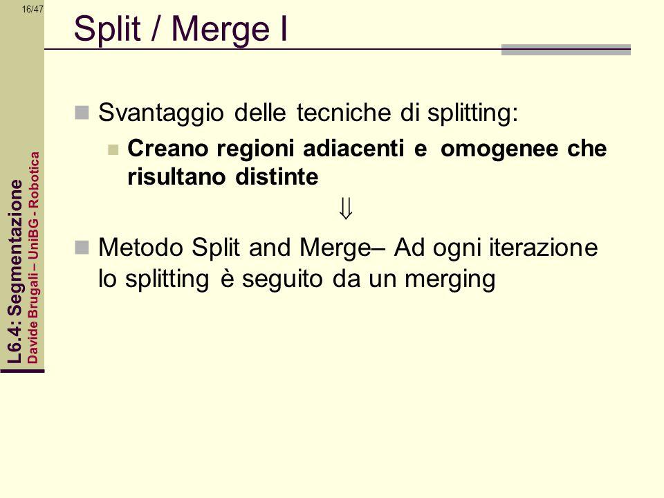 Davide Brugali – UniBG - Robotica L6.4: Segmentazione 16/47 Split / Merge I Svantaggio delle tecniche di splitting: Creano regioni adiacenti e omogene